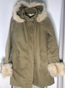 best website cb40a 0b4ed Details about Pinko Parka With Detached Fur And Lining Size S (36) 8 UK  Military green Fox Fur