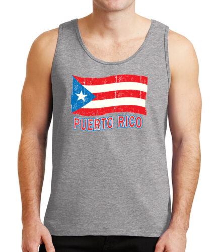 Puerto Rico Flag Mens Tank Top Distress Puerto Rican Tanks for Men 1061C