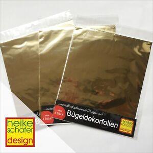 Buegeldekorfolien-Abdrueckfolien-fuer-Textilien-in-Gold-5-Stk-Neu-Heike-Schaefer