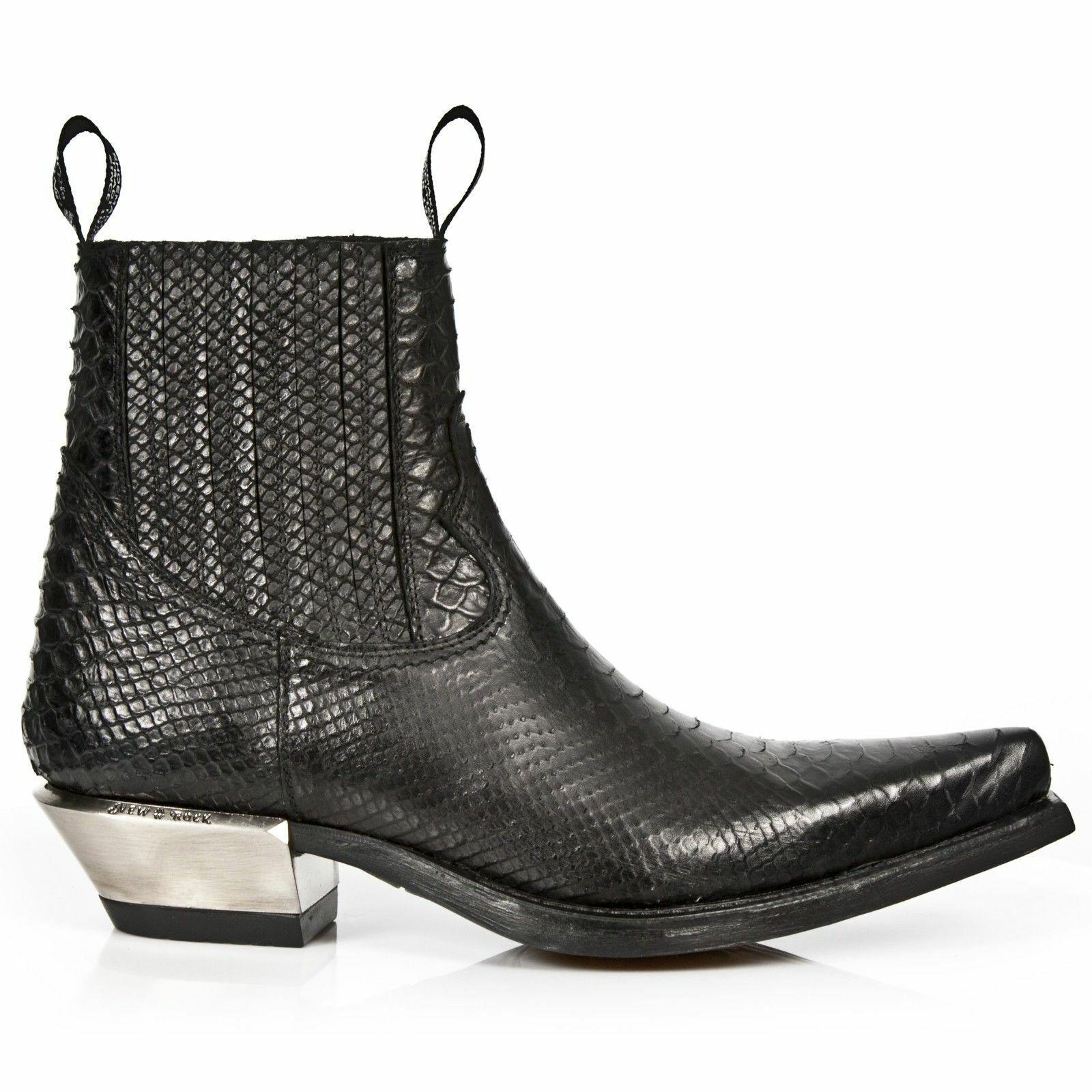 New Rock Rock Rock M.7953-S4 Black Python Print Leather West Steel Heel Ankle shoes 4ce8ab