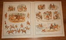 1883 Antique Print of Lady Horse Riding Side Saddle