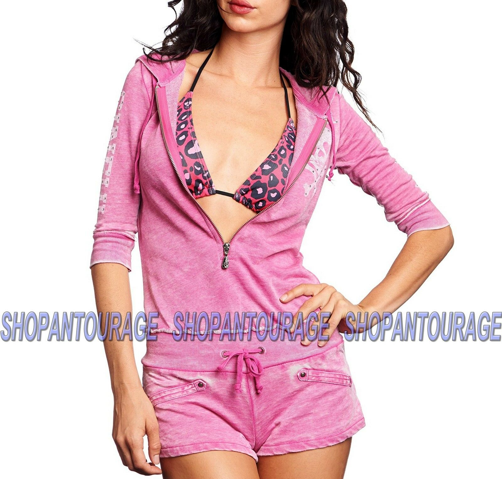Sinful Jordan 05KN418 3 4 Sleeve Graphic Zip Hood Romper for damen By Affliction