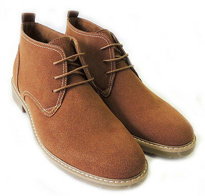 NEW MENS ANKLE BOOTS FAUX SUEDE LEATHER LINED CHUKKA LACE UP SHOES / BROWN315