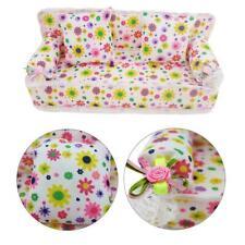 3pcs /set Mini Dollhouse Furniture Flower Printing Cloth Sofa Couch & 2 Cushions