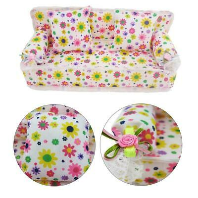3Pcs//set Mini Dollhouse Furniture Flower Printing Cloth Sofa Couch/&2 CushioFBDC