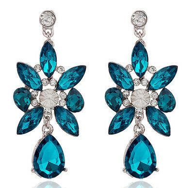 New Fashion Party Charm Crystal Leaf  Water Drop Flower Statement Earring Stud
