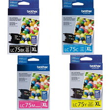 4 Pack Brother LC75 XL Genuine Ink Cartridges BK C M Y For MFC-J280w MFC-J425W