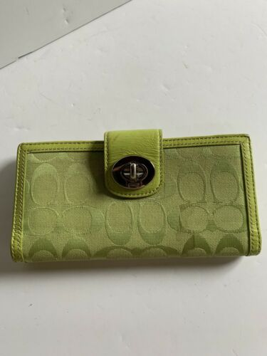 Coach Lime Green Signature Turnlock Leather Checkb