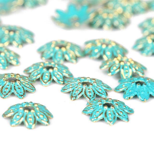 10pcs Alloy Retro Verdigris Patina Trundle Beads Charms Fit DIY Bracelet Jewelry