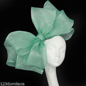 Image is loading Large-Pale-Mint-Green-Fascinator-Hat-for-Ascot- 50bec0038ab