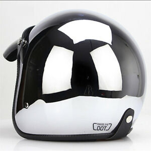 DOT-Motorcycle-Helmet-Open-Face-Chrome-Silver-Half-3-4-Helmet-Scooter-Cruiser