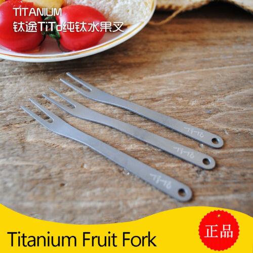3pcs Sandblasting Titanium Fruit Fork Small Tableware Cutlery For Camp Kitchen