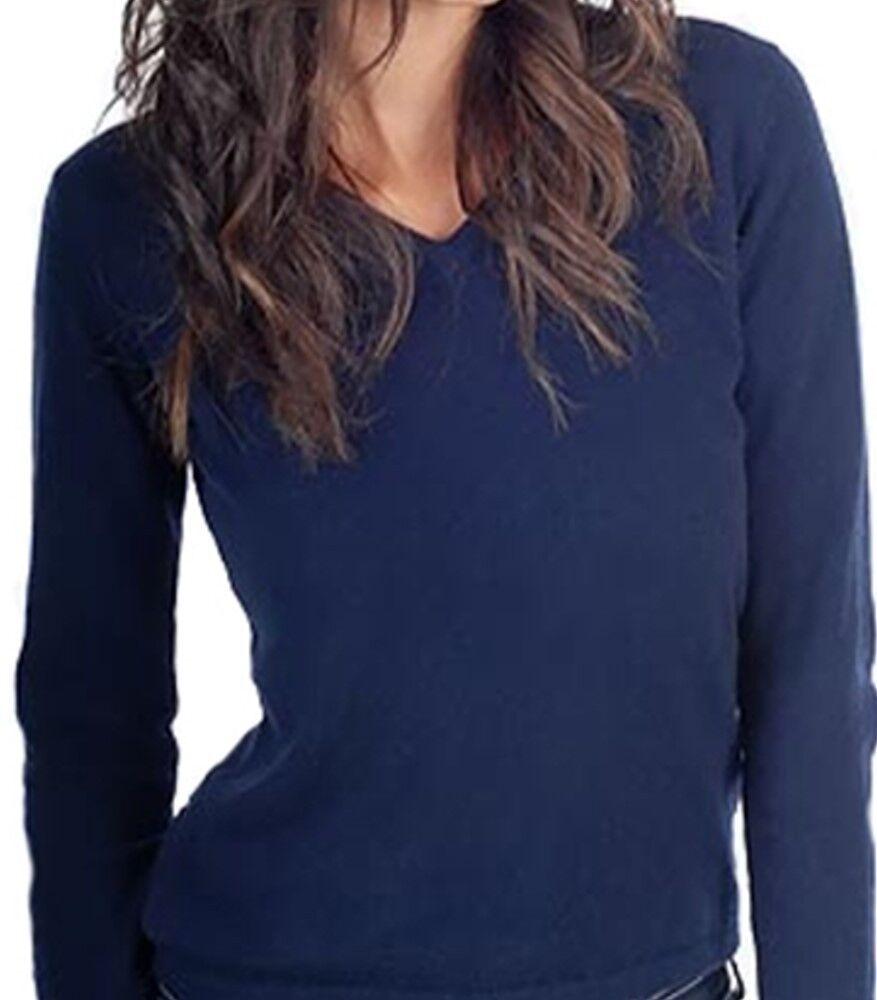 Balldiri 100% Cashmere Damen Pullover 2-fädig V-Ausschnitt nachtblau M