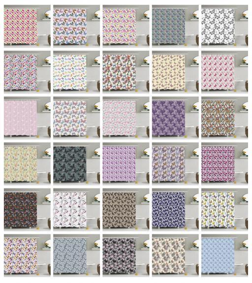 Butterfly Pattern Shower Curtain Fabric Decor Set with Hooks 4 Größes