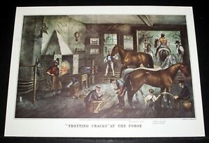 Vintage Art Original Print TROTTING CRACKS AT HOME