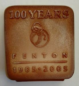 Limited-Edition-Fenton-Chocolate-Glass-Logo-100-Anniversary-2005-Only-300-made