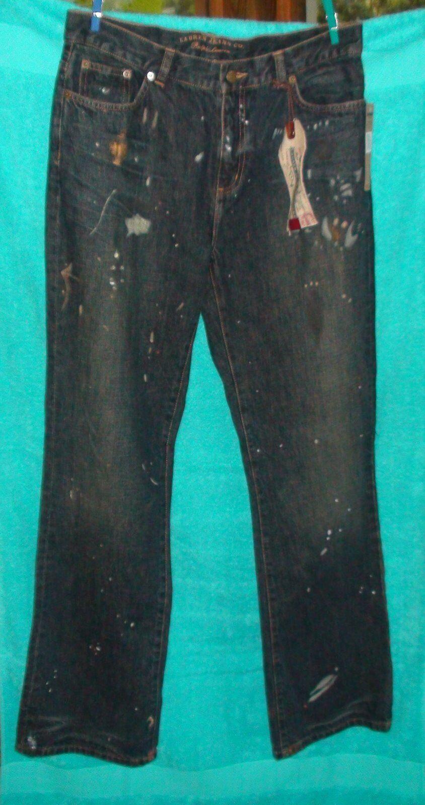 """""""Ralph Lauren"""" Dark Navy Paint-splatter Cotton Women's JeansSz. 10NWT inseam32"""