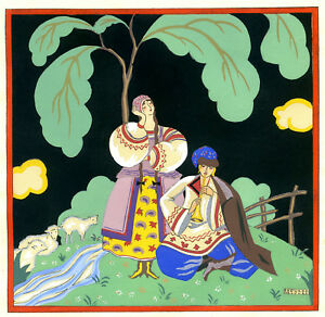 1930s-French-Pochoir-Print-Edouard-Halouze-Russian-Folk-Couple-Flute-Player