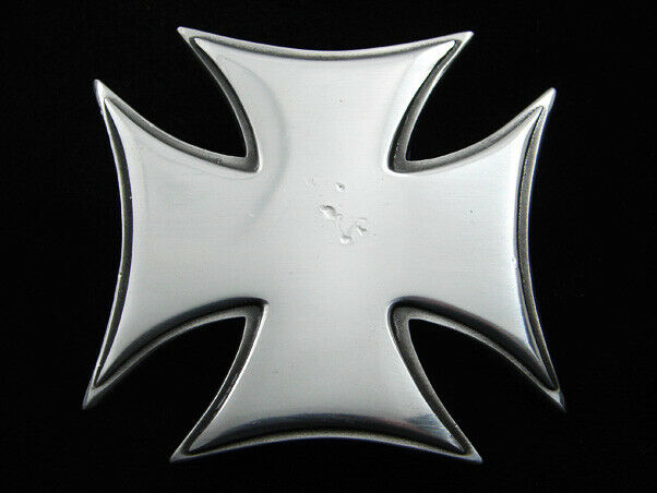 RG03165 REALLY COOL CUT-OUT IRON CROSS PEWTER BELT BUCKLE