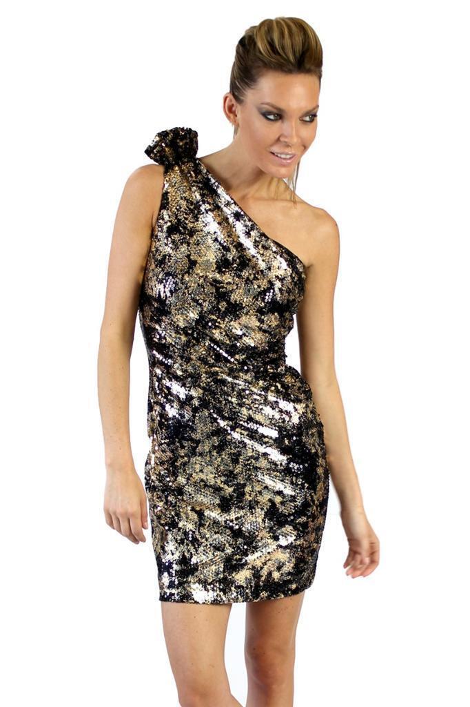 ede51d9cb81343 Mark and James Badgley Mischka One Shoulder Sequin Short Dress schwarz Gold  Sequin