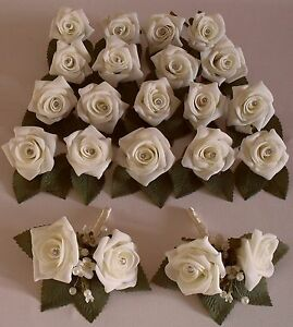Diamante-Pearl-Crystal-Corsage-Wedding-Ivory-Rose-Flower-Buttonhole-Package