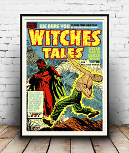 Retro Comic Book Cover Poster Reproduction Witches Tales Wall art