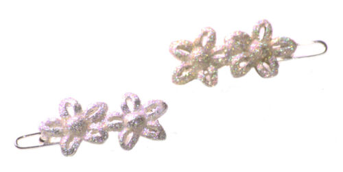 Zx173 Silver Glitter Infused// Dual Flower Easy Clip on Metal Hair Clips