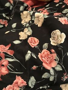 Black-Georgette-Fabric-Pink-Cabbage-Roses-Shabby-Cottage-3-Yards