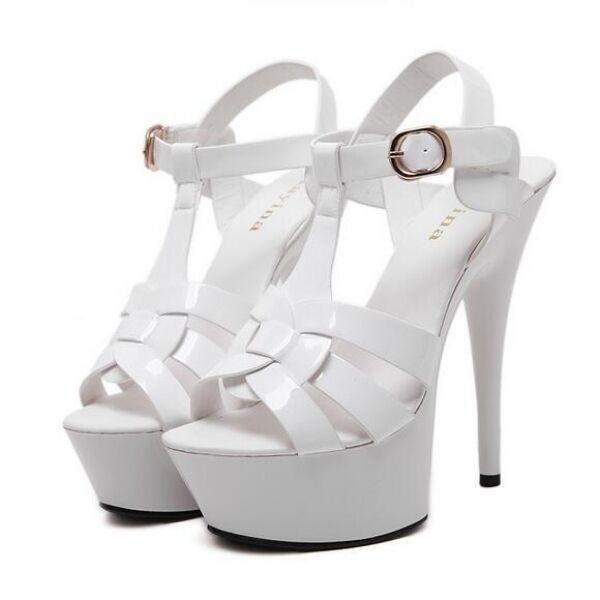 grandi prezzi scontati Sandali tacco 14 plateau bianco eleganti cinturino cinturino cinturino stiletto simil pelle CW474  alta qualità generale