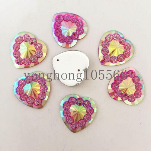 30PCS 20mm AB Resin heart Flatback rhinestone Embellishment 2 hole buttons DIY