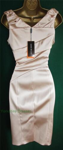 stretch Uk avec Wiggle signature satin pliée Robe stretch en New 6 Karen Millen fourreau EwvC87q
