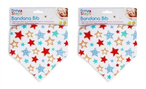 Pack of 2 Baby Bandana Dribble Bibs Towel Feeding Teething Head Scarf Girl Boy
