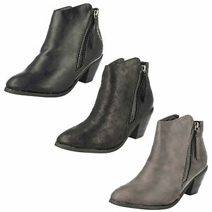 Ladies Brown Heeled Faux Suede Ankle Boots with Zip Sizes UK 4-8 Finesse