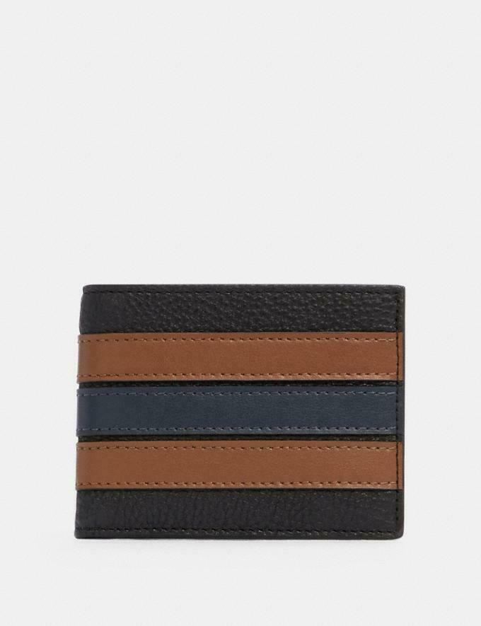 Coach Slim Billfold Wallet With Varsity Stripe Qb/Black Saddle/Midnight No. 3003