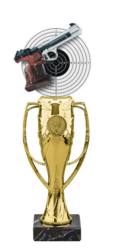 PISTOL SHOOTING GUN ACRYLIC TROPHY CUP GOLD OR SILVER *FREE ENGRAVING* 340mm