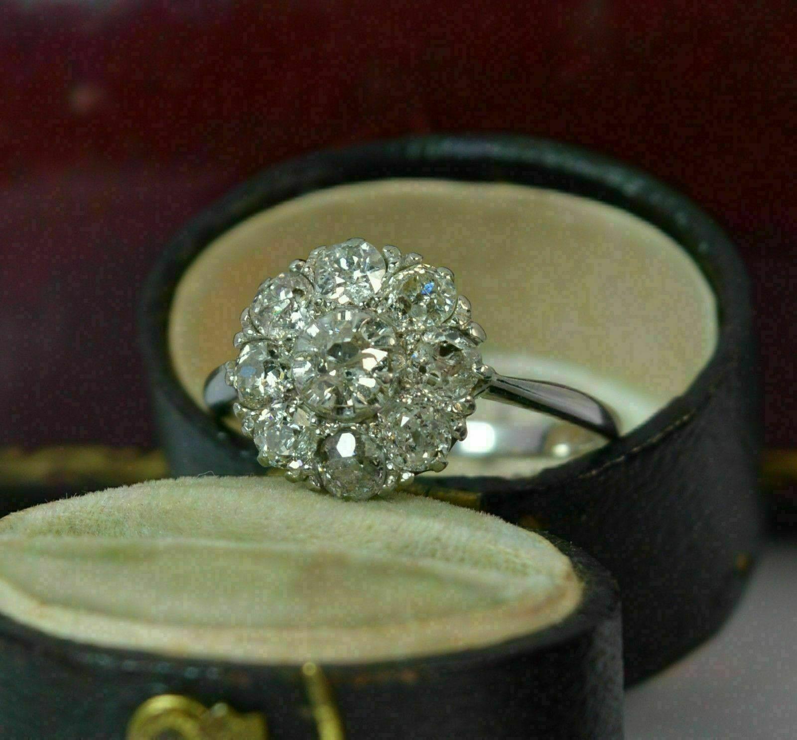 2.50 Ct Round Cut Diamond Halo Cluster Engagement Wedding Ring 14K White Gold Fn