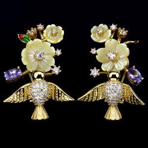 Ohrringe-30x20-mm-925-Silber-Gelbgold-beschichtet-Perlmuttblumen-Tansanit-amp-CZ