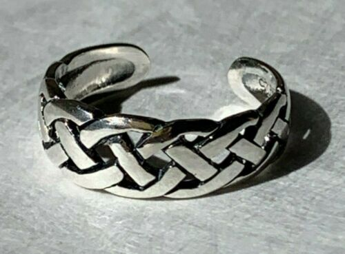 Solid Sterling Silver 925 Toe Ring Medium Double Celtic Weave Braid Adjustable
