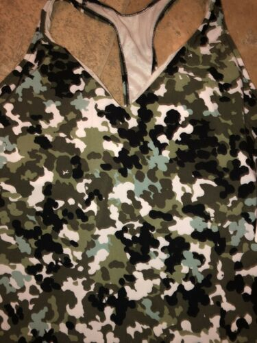 Magicsuit Miraclesuit GI Jane Taylor Olive Green Camo Tankini top Swimsuit NWT10