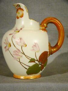 Antique-Royal-Worcester-Hand-Painted-Floral-amp-Gilt-Pitcher-Jug-c1889-5-034-h