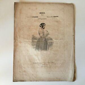 Partitura Maria Melodía E. Plouvier Música F. de Flotow Francia Música Siglo XIX