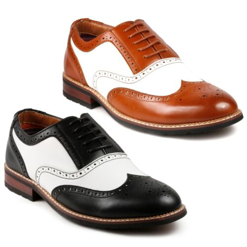 1930s Men's Fashion Guide- What Did Men Wear?   Metrocharm MC315 Mens Two Tone Perforated Wing Tip Lace Up Oxford Dress Shoe $31.99 AT vintagedancer.com