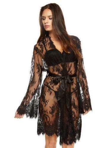 Ann Summers Sascha Black  Lace Kimono Dressing Gown Size Large 16 18 NWOT