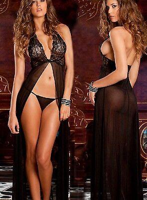 Neu schwarz Damen Spitze Halter-Maxi Kleid+G String Nachtwäsche S-XXXL