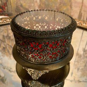 Vintage-Gold-Ormolu-Filigree-Round-Jewelry-Casket