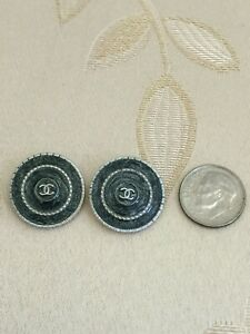 Authentic-CHANEL-BUTTONS-2X-CC-Logo-Deep-Gray-Metal-20mm-Replacement-Sewing-NEW