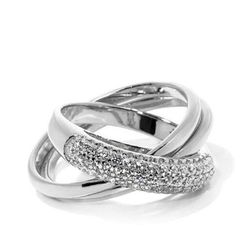 Summar Sale 14K White Gold Finish .49ct D//VVS1 Pave Triple-Band Rolling Ring