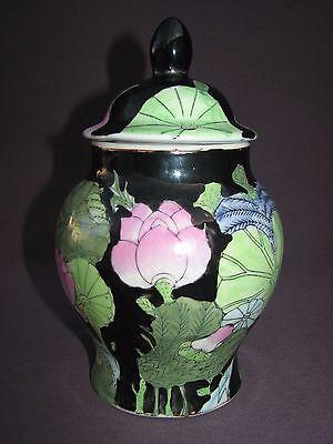 """8"""" Vintage Chinese Porcelain Famille Noire Black Lotus Flower Lidded Ginger Jar"""