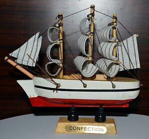 Cool vintage nautical wooden wood ship sailboat boat home model decor 4 4 ebay - Cool home decor websites model ...