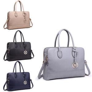 81e38ceef1e7 Image is loading Women-PU-Leather-Shoulder-Handbag-Briefcase-Satchel-Laptop-